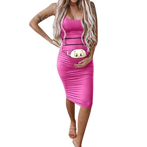 Umstandsmode Schwangere Kleider, Umstandsmode Damen Baby Print Lustige Stillen Sommer Casual Sexy Ärmelloses Minikleid Kostüm Mutterschaft Schwangere Mode Sommerkleid (Skelett Mutterschaft Kostüm)