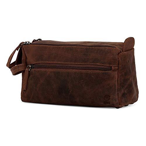 Shave-duft (Rustic Town kulturtasche kulturbeutel Mann | Leather Toiletry Bag | Leder Kosmetiktasche Waschtasche Reise-Tasche für Herren (Dunkelbraun))