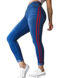 42241babf30779 Stripe Denim Pants Women Fashion Middle Waist Pecncil Trousers Ladies  Skinny Slim Fit Casual Jeans wiht