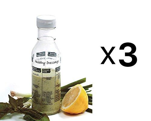 """Norpro Glass Salad Dressing Shaker Mixer Bottle Cruet w/ Recipes 8.25"""" (3-Pack)"""