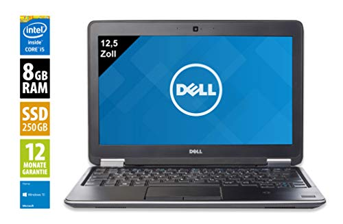 Dell Latitude E7240 | Notebook | Laptop | 12,5 Zoll (1366x768) | Intel Core i5-4310U @ 2,0 GHz | 8GB DDR3 RAM | 250GB SSD | Webcam | Windows 10 Home (Zertifiziert und Generalüberholt)
