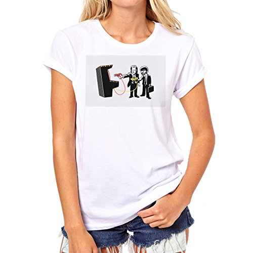 Pulp Fiction Ouentin Tarantino Movie Game boy Background Damen T-Shirt Weiß
