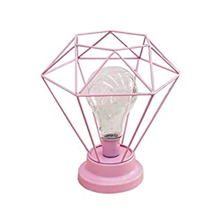 AntEuro Diamond Iron Table Lamp, Iron Bulb Night Light Nordic Bedside Table Lamp with Battery Operated Decorative Lighting for Bedroom, Living Room, Bar, Hotel (Pink)
