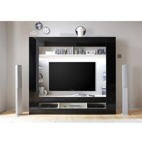 Media-Center in Hochglanz schwarz, Korpus in weiß mit großem TV-Ausschnitt und offenen Geräterfächern, Maße: B/H/T ca. 180/160/34 cm - 2