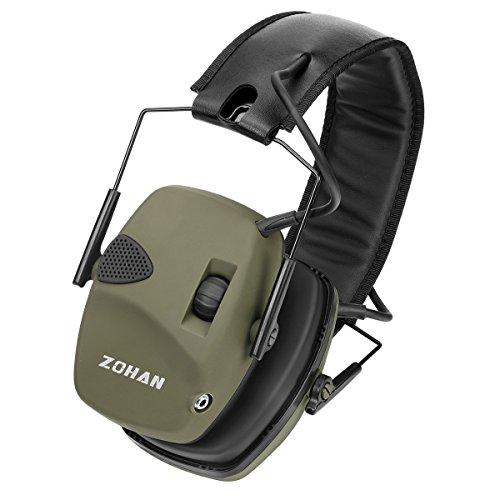 Zohan cuffie antirumore elettroniche, cuffie per la caccia con amplificazione sonora e riduzione del rumore - snr 27db/nrr 22db (verde)
