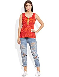 Very Me Women's Designer Tomato Pure Cotton Printed Short Top