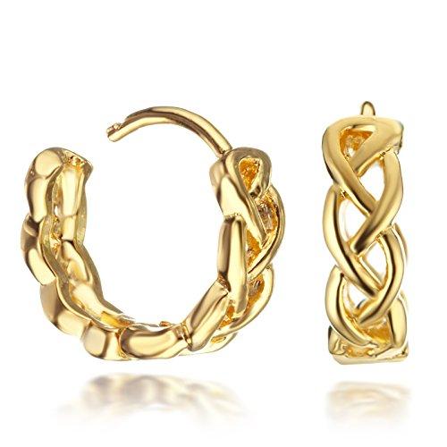 Gemini Ohrstecker (Gelb Gold), Luxus Design, Rundform, für jeden Anlass, beliebt bei Girls & Damen, 0,6 cm Durchmesser