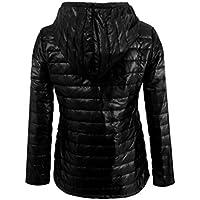 Sannysis chaquetas de mujer abrigo de invierno con capucha (Negro, M)