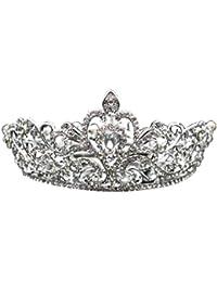Diadia ❤️Tiara de cristal plateado Tiara de cristal Rhinestone corona princesa Tiara Boda Novia Fiesta Prom Tiara Diadema para Mujer Niña, plata, Material: Alloy