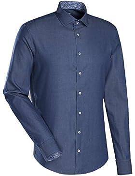 JACQUES BRITT Smart Casual Hemd Slim Fit 1/1-Arm Uni / Uniähnlich Casual-Hemd Hai-Kragen Manschette weitenverstellbar