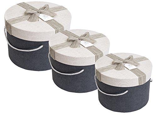 Emartbuy Satz Von 3 Luxus Zylindrische Präsentation Geschenkbox, Starren, Marineblau Box Mit Creme Deckel, Braunen Interieur Und Gestreifte Jute Dekoratives Schleifenband - Unten Big Zylinder