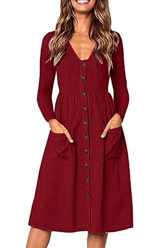 28e82624b36 Casual Midi Dresses for Women V Neck T Shirt Dress Long Sleeve A Line Swing  Dress