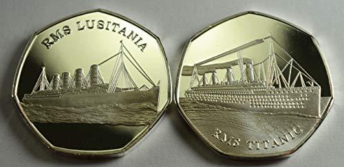 The Commemorative Coin Company 999 Silberne Gedenkmünzen RMS Titanic & LUSITANIA Alben / 50p Sammler Ocean Liner -