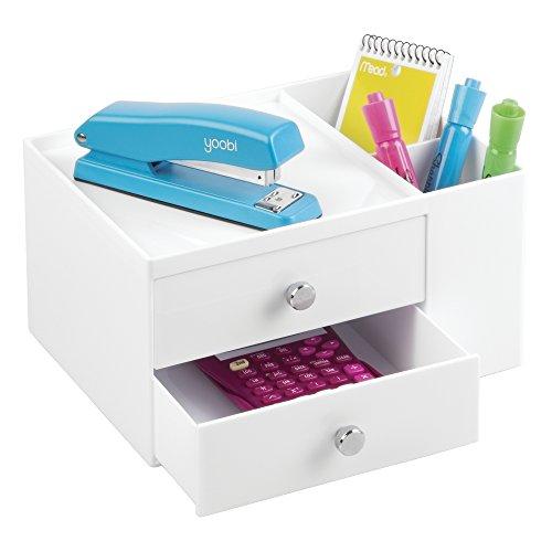 mDesign Büromaterialien-/Schreibtisch-Organisator für Tacker, Schere, Stifte, Blöcke, Textmarker, Klebeband - 2 Schubladen, Weiß