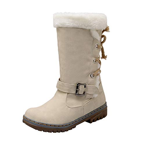 BHYDRY Schuhe Damen Warme Stiefel Klassiker ZurüCk Krawatte Schnalle Frauen Schneestiefel Winterschuhe Mode Flache Fersen