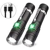 LED Taschenlampe USB Wiederaufladbar, Karrong Taktische Taschenlampen mit 4 Modi Zoombar Einstellbarer Fokus Wasserdicht, für Innen Outdoor Camping Wandern (Inklusive 2 stück 18650 Akku)