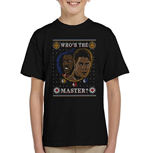 Last Dragon Whos The Master Christmas Knit Pattern Kid's T-Shirt Green Dragon Kung Fu