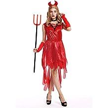 dressmeup - W-0283 Costume Donna Halloween Carnevale Diavolessa Strega  Corna Vestito Rosso Taglia M d30e3a01604d