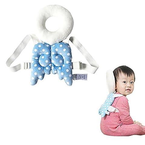 Baby-Kopf schützen Kissen Justierbarer Säuglingsschutz-Auflage für Baby-Wanderer-schützender Kopf und Schulter-Schutz Verhindern Sie Kopf verletztes angemessenes Alter 4-24 Monate, nette Engels-Flügel (blau)