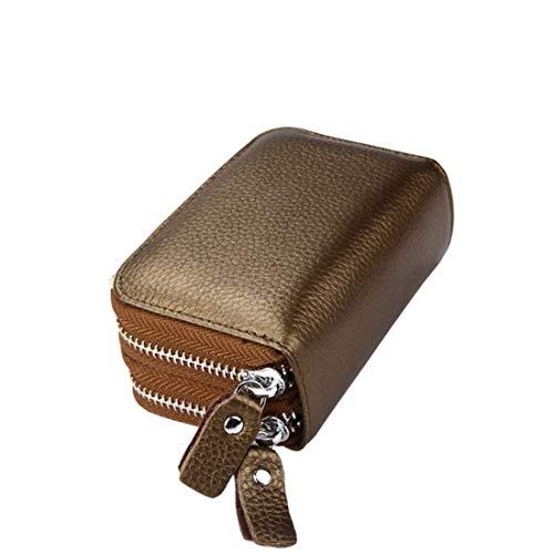 Klerokoh RFID Blocking Frauen Echtes Leder Brieftasche Dame Kupplung Geldbörse Reißverschluss Tasche Kartenhalter (Color : Bronze Gold) -