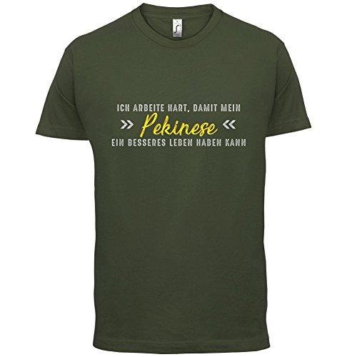 Ich arbeite hart, damit mein Pekinese ein besseres Leben haben kann - Herren T-Shirt - 12 Farben Olivgrün