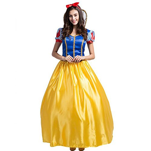 KINDOYO Schneewittchen Prinzessin Kleid Disney Damen Prinzessin Kleid Halloween Cosplay Kostüm Make-up Party oder Themed Events Kostüm (Damen Disney Kleid)