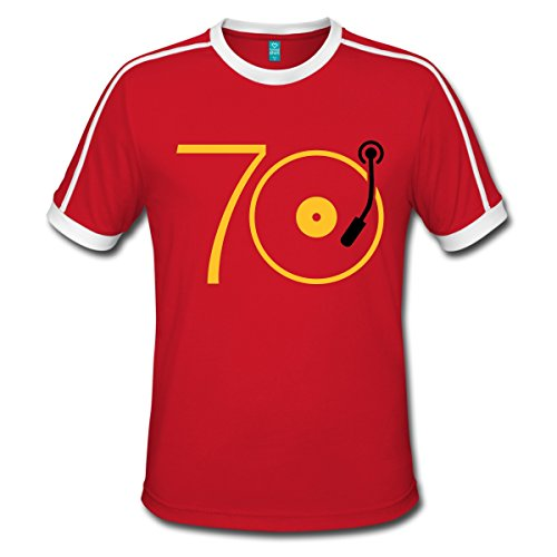 Spreadshirt Musik Der 70er Platte Retro Männer Retro-T-Shirt, XXL, Rot/Weiß