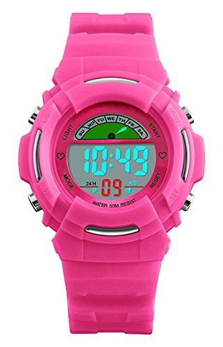 tal Uhren - 5 ATM Wasserdicht Outdoor Sportuhren mit Alarm/Woche/El Licht, Kinder Elektronische Uhren für kleine Mädchen Digitaluhren als Geschenke - Rose by VDSOW (Kleine Mädchen Store)