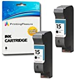 Printing Pleasure 2 Tintenpatronen Kompatibel zu HP 15 für HP Deskjet 816c 825c 825cvr 825cxi 827 840c 841c 842c 843c 845c 845cse 845cvr 845cxi 848c - Schwarz, Hohe Kapazität