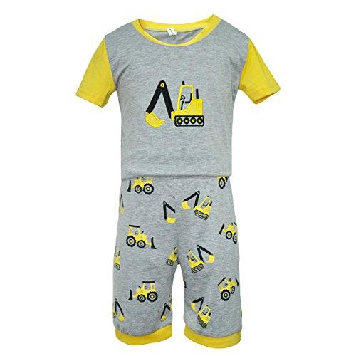 Eulla-Bambini-Ragazzi-a-maniche-corte-pigiama-Escavatore-vestito-Outfit-2-7-anni