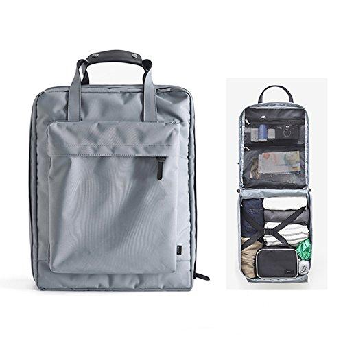 Overmont 35L mochila unisex de viaje bolsa neceser de baño organizador impermeable portatil para viaje senderismo acampada camping picnic excursión cabina gris/azul/negro
