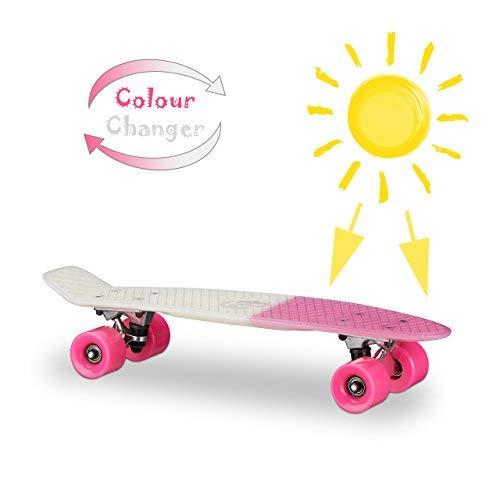 Relaxdays Mini Cruiser mit Farbeffekt, 22 Zoll Skateboard für Kinder, Alu-Trucks Gummirollen mit ABEC 7, versch. Farben