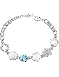 Silver Shoppee Silver Bling, Crystal And Cubic Zirconia Studded Alloy Bracelet For Girls And Women