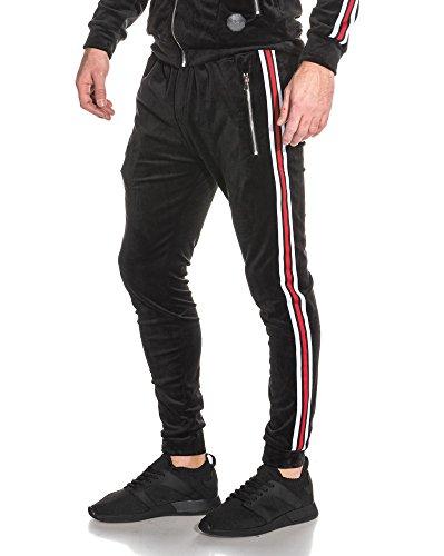 Project X - Bas de jogging peau de pêche noir bandes latérales bicolores - couleur: Noir - taille: S