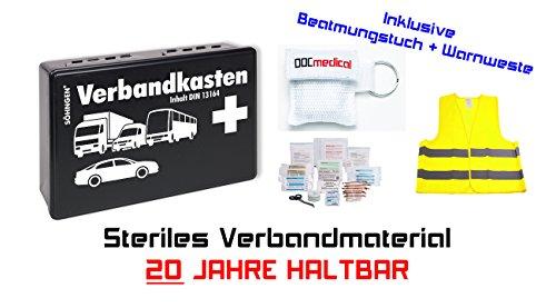KFZ Verbandkasten (20 Jahre haltbar) + Beatmungstuch + Warnweste