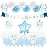 DaLoKu Set Dekoration Babyparty Babyshower Mädchen Junge Luftballons Pompom Girlande Banner, Farbe: Its a Boy hellblau/weiß