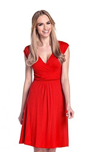 Glamour Empire Donna A-Line Senza Maniche Vestito Estivo Abito IT 40-50 256 Rosso