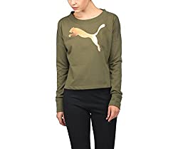 Puma Womens Cotton Sweatshirt (85018802_Olive_S)