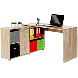 Bureau d'angle CARMEN table pivotante avec meuble de rangement 6 étagères et 1 tiroir, décor chêne sonoma