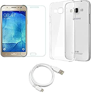 NIROSHA Tempered Glass Screen Guard Cover Case Car Charger USB Cable for Samsung Galaxy J7 - Combo