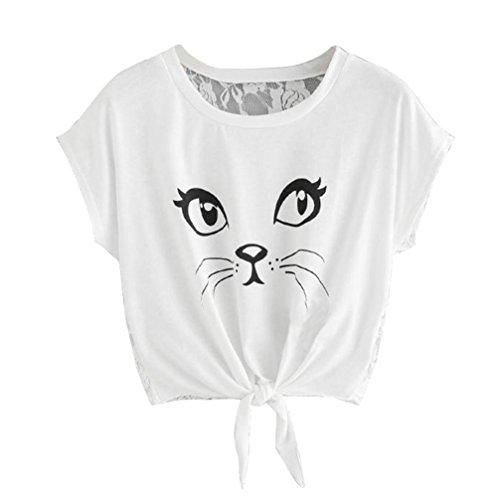 Leggings Kostüm Katze Schwarze Mit - VJGOAL Damen T-Shirt, Damen Mädchen Casual Katze Printed Kurzarm Rundhals Sommer T-Shirts Blusen Tops (S, Weiß)