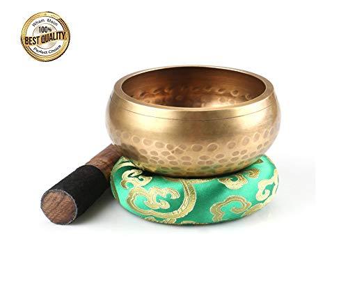 Tibetan Singing Bowl Set, Silent Mind tibetische Klangschale Set,mit hochwertigem Holz Klöppel und Himalaya Kissen by Wham Moon Garten Bowl-set