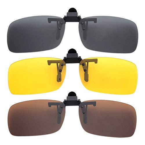BOZEVON Herren Frauen Clip Sonnenbrille Polarisiert - UV400 Sonnenbrillen Nachtfahr Brille Aufsatz Clip On 3er-Set, Grau & Gelb & Braun - S