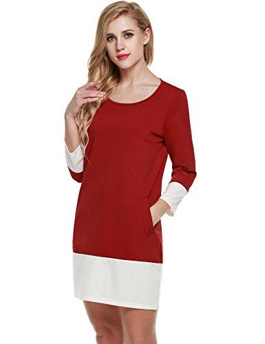 rmel Etuikleid Knielang Schlauch Kleid Farben Block Shift Kleid Loose Fit Businesskleid Patchwork Casual Stil Taschen, Rot, EU38/40(Herstellergröße: S) ()