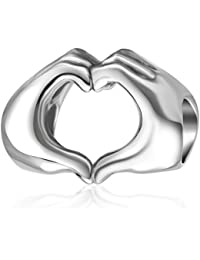 Love Heart in your Hands Bead Charms Solid 925 Sterling Silver Fingers with Heart Love Charm for European Bracelet