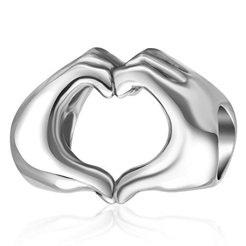 Abalorio en forma de corazón de plata de ley 925 para pulsera...