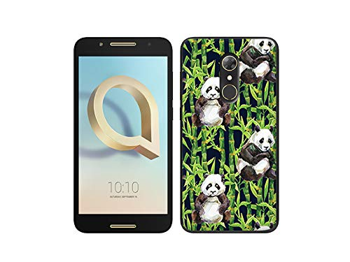 etuo Alcatel A7 - Hülle, Silikon, Gummi Schutzhülle Fantastic Case - Pandas mit Bambus