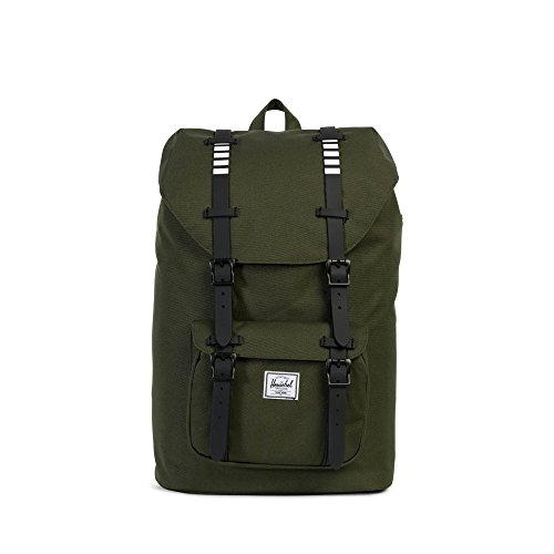 Herschel Little America Mid-Volume, Sac à dos unisexe, forest night/black rubber, 42x28x13 cm (H x B x T)