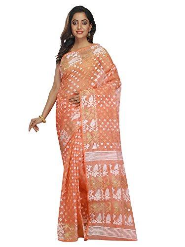B3Fashion Women's Dhakai Jamdani Saree (Ags650_Peach)