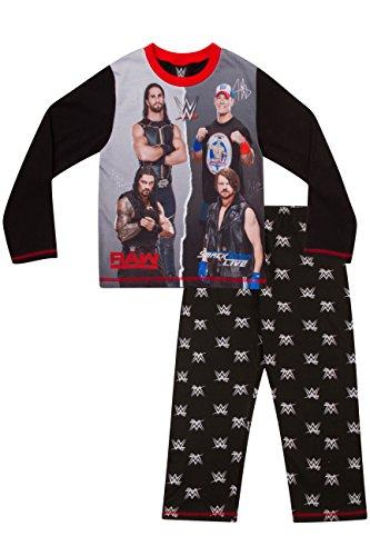 ThePyjamaFactory Jungen Schlafanzug Schwarz Schwarz, Schwarz, 10-11 Jahre (Kinder T-shirt John Cena)